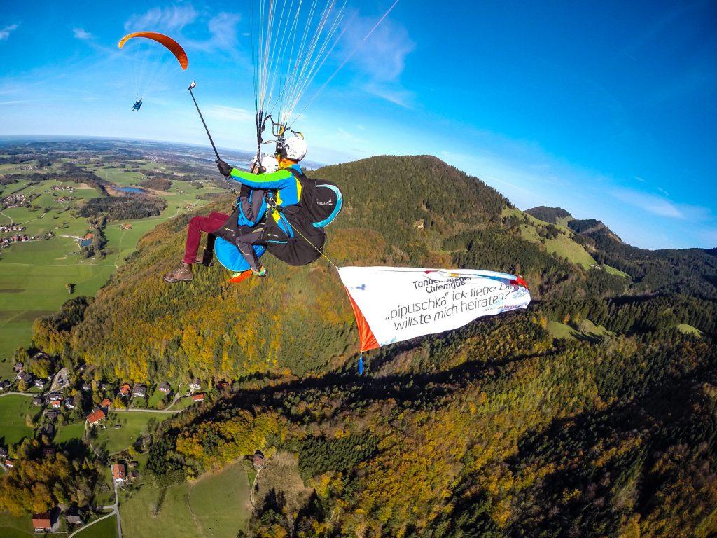 Heiratantrag Paragliding Tandemflug Gleitschirmflug Doppelflug