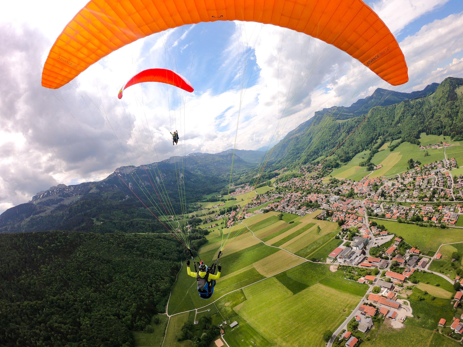 Partner-Doppel-Gleitschirm-Paragliding-Tandemflug-Gutschein-Tandemfliegen-Chiemgau